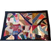 Victorian 19th Century Crazy Quilt Friendship Lap Quilt Feather Stitching Embroidered Initials