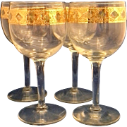 SOLD Culver Valencia Wine Glasses Set of 4 Gold Filigree Green Diamonds
