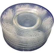 Morgantown Milan Luncheon Plates Set of 12 Elegant Floral Urn Etched Clear Glass