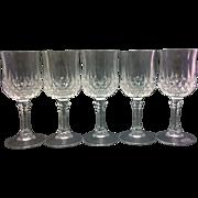 SALE Longchamps Cristal d'Arques Cordials Stems Set of 5 Lead Crystal