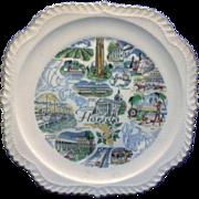 Florida State Souvenir Plate Gadroon Edge Map Pre Disney