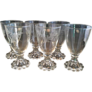 Anchor Hocking Bubble Foot Stem Juice Cut Leaf Bowl Set of 6