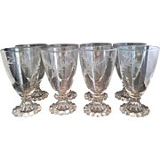Anchor Hocking Bubble Boopie Foot Clear Cut Glass Water Goblets Stems Set of 8