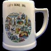 South Bend, Indiana Souvenir Stein Mug Pottery