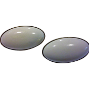 SALE White Oval Plastic Lucite Cab Earrings Clips