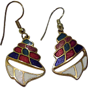 Cloisonne Conch Shell Dangle Earrings