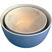 Hall Rose Parade Straight Side Mixing Bowls Pair 6 IN 7 IN Sani-Grid