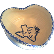 Casey Pottery Hand Turned Heart Shaped Bowl Blue Spongeware Cream From Texas With Love