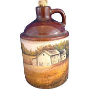Hand Painted Farm Scene Small Whiskey Moon Shine Jug Brown Slip Glaze Top