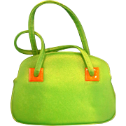 Bright Kelly Green Lucite Trim Vinyl Purse Handbag