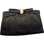 Black Satin After Five Evening Bag Black Rhinestone Clasp Convertible Clutch