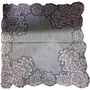 SALE White Roses Printed Scalloped Handkerchief Hanky