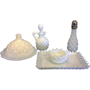English Hobnail Pattern Milk Glass Westmoreland Children's Condiment Set Complete 5 Pcs