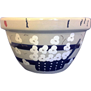 RRP Co Robinson Ransbottom Williamsburg Shoulder Blue Stripe 9 IN Mixing Bowl Hand Painted ...