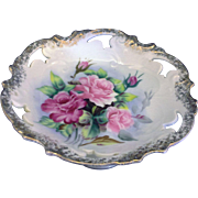 Hand Painted Pink Roses Porcelain Compote Pedestal Bowl Dish Made in Japan