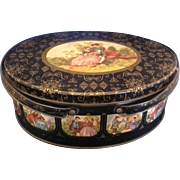SALE Fragonard Scene Black Gold Oval Tin Double Handle Basket Sewing Lunch Picnic