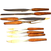 Mid Century Danish Modern 1960s Knives Set Wooden Handles 8 Pcs