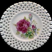 Lefton Hand Painted Roses Lattice Edge White Porcelain Plate