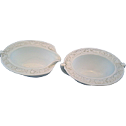 Anchor Hocking Vitrock White Milk Glass Flower Rim Oval Cream Sugar Pair Depression Glass