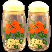 SOLD Cherries Cherry Blossoms Clear Glass Salt Pepper Shakers White Plastic Lids