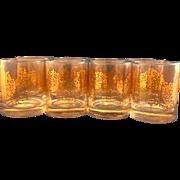 Libbey Gold Twig Bramble Rocks Tumblers Set of 8