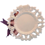 Westmoreland White Milk Glass Eagle Flag Fleur De Lis 7 1/4 IN Plate
