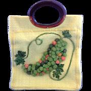 SALE JR Julian Resnick Yellow Burlap Chenille Grapes Root Beer Lucite Handle Purse Handbag