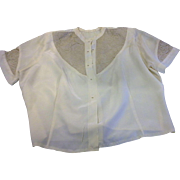 Cream Silk Charmeuse Lace 1930s Bed Jacket