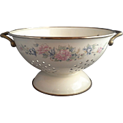 SOLD Cream Enamel Blue Pink Floral Vintage Colander Strainer Brass Handles 9.5 IN