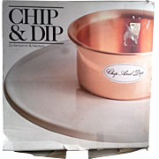 Benjamin Medwin Copper Stoneware Chip & Dip Still In Box Made in Portugal 1985