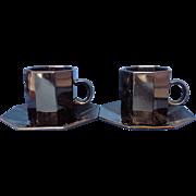 Octime Black Demitasse Cups Saucers Pair Arcoroc France