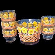 Daisy Yellow Orange Flowers Ice Bucket Tumblers Set 1980s
