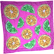SALE Bright Pink Citrus Print Silk Scarf Limes Lemons 27 IN Square
