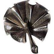 SALE Sarah Coventry Silver Tone Palm Frond Leaf Pin Brooch