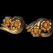 SALE Monet Gold Tone Double Flower Clip Earrings