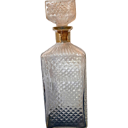Bourbon Pressed Glass Diamond Waffle Pattern Liquor Bottle Decanter