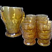Anchor Hocking Amber Georgian Honeycomb Pitcher Juice Glasses Set of 12