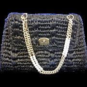 SALE Gaymode Vintage Black Raffia Purse Handbag Chain Handle