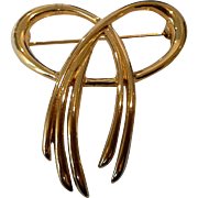 SALE Crown Trifari Gold Tone Bow Pin Brooch
