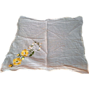 SALE White Cotton Yellow Flowers Embroidered Handkerchief Hanky
