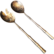 SALE Silverplate Salad Servers Fork Spoon Bamboo Handles Made in Italy