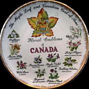 Floral Emblems of Canada Porcelain Souvenir Plate Hand Painted Japan Enterprise Exclusive ...