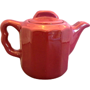 Syracuse China Pottery Restaurant Ware 2 Cup Individual Teapot Burgundy Deep Red Paneled Sides