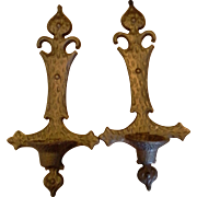 SALE Sexton Black Cast Iron Wrought Iron Candle Wall Sconces Medieval Cross Look 1969 Pair