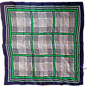 Sally Gee Blue Green Geometric Rayon Silk Blend Scarf 22 IN Square Made in Japan