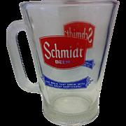 Schmidt Beer Glass Pitcher Large Mug Red Blue Logo