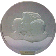 SALE Danbury Mint Mother's Day Clear Glass Paperweight Frosted Intaglio Mother Children