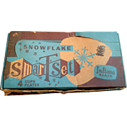 SALE Indiana Glass Snowflake Snack Set 8 Pieces Original Box