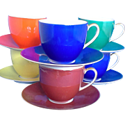 SALE Porzellanfabrik Arzberg Bayern Porcelain Demitasse Set 5 Cups 5 Saucers Different Colors
