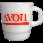SOLD Avon Red Logo Milk Glass Mug Galaxy